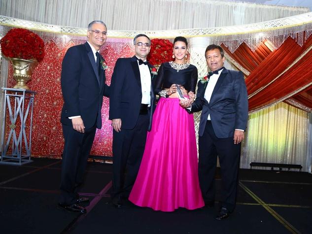 Mustafa Tameez, from left, Nomaan Husain, Neha Dhupia and Ash Shah at the South Asian Chamber Gala February 2014