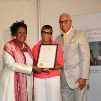 Sheila Jackson Lee, from left, with Shirley and  Bernard Kinsey at the HMAAC Kinsey Collection reception August 2014