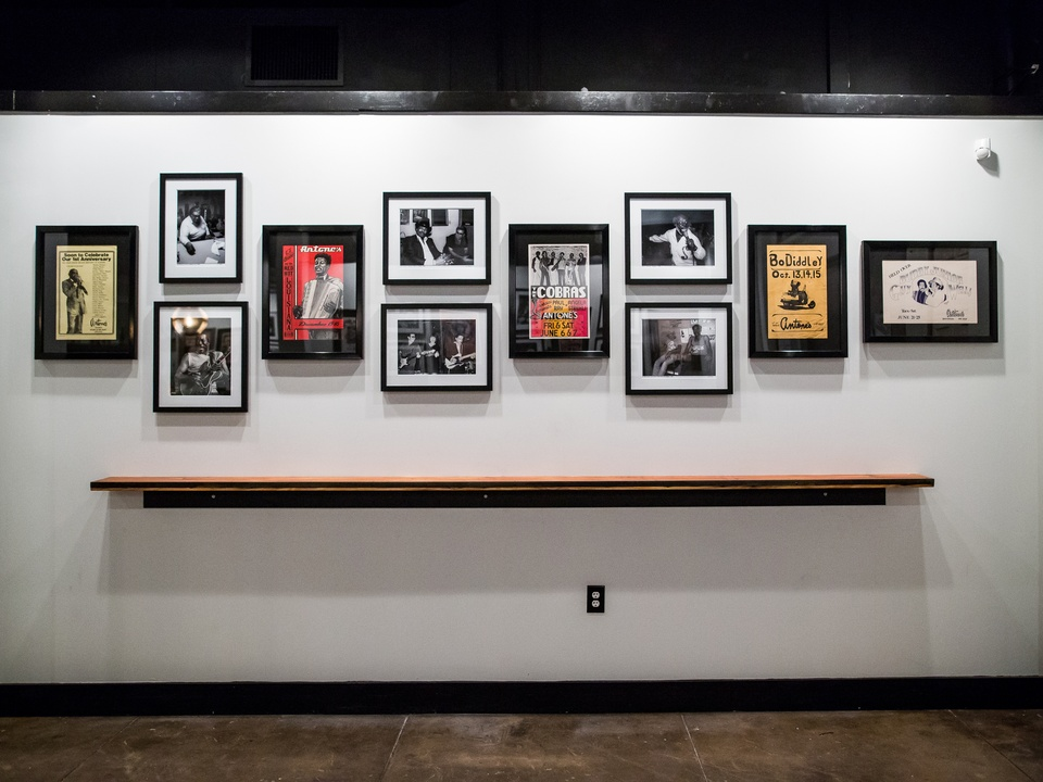 Antone's downtown venue Fifth Street 2016 concert posters gallery wall