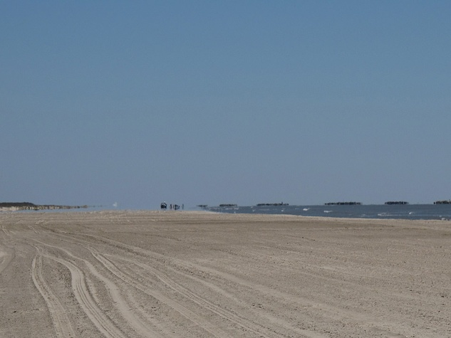 Katie Louisiana Revisited part 6 May 2013 Beach, berms and and workers further down at Grand Isle