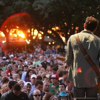 musician at Nutty Brown Cafe for KOKE FM free texas concert series