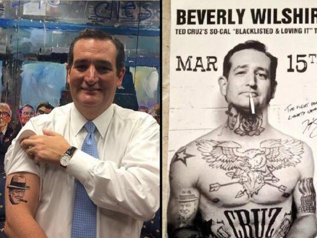 Ted Cruz tattoos cigarette Twitter Los Angeles