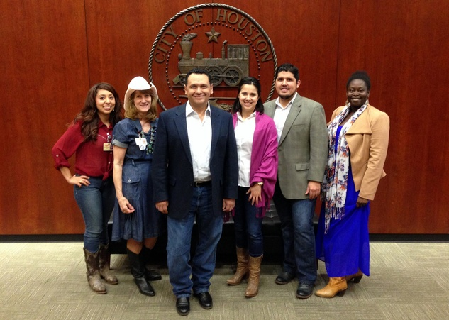 Go Texan Day February 2014 Mayor Pro-Tem Gonzalez and the District H team in western gear for Go Texan Day!