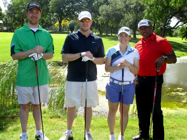 Will Colbeck, Justin Thomason, CeCe Turner and Andre Rougean, promise house golf tournament