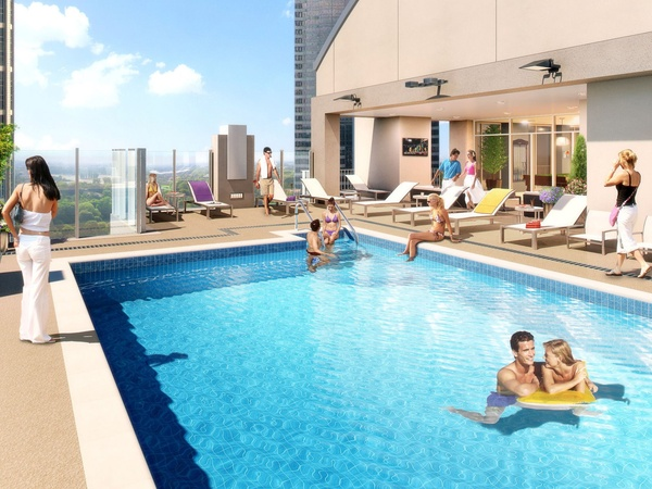 SkyHouse Midtown, high rise, rendering, swimming pool, 1625 Main St., November 2012