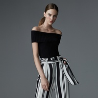 Olivia Palermo + Chelsea28 stripe wide leg pant and off shoulder blouse at Nordstrom