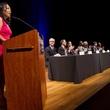 Miya Shay and candidates at Mayor Forum on Arts