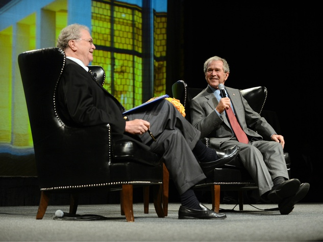 Tom Johnson and George W. Bush at Living Legend Luncheon
