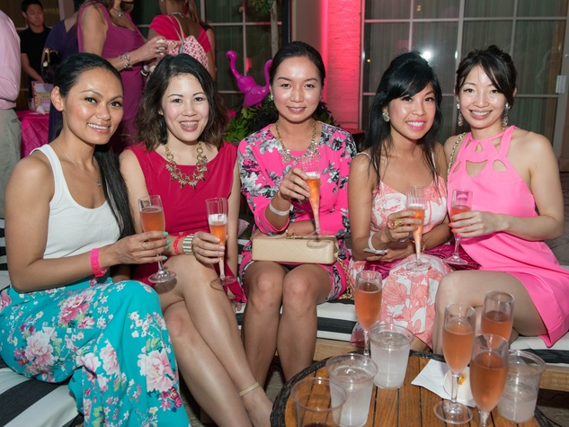 14 Kim Muong, from left, Victoria McCaffety, Cindy Nguyen, Therese Hoang and Glory Chi at the Pink Party at Hotel ZaZa July 2014