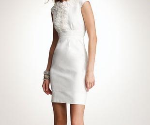 News_White linen_ruffle neck linen sheath dress_Anne Taylor