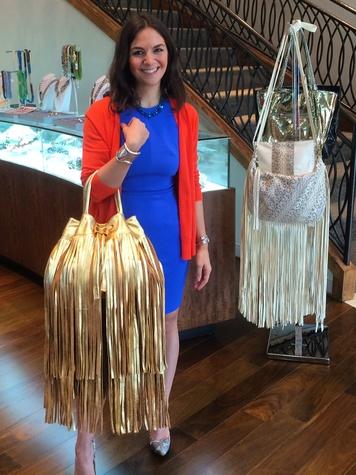 Kate Falchi with fringe bags at Elizabeth Anthony