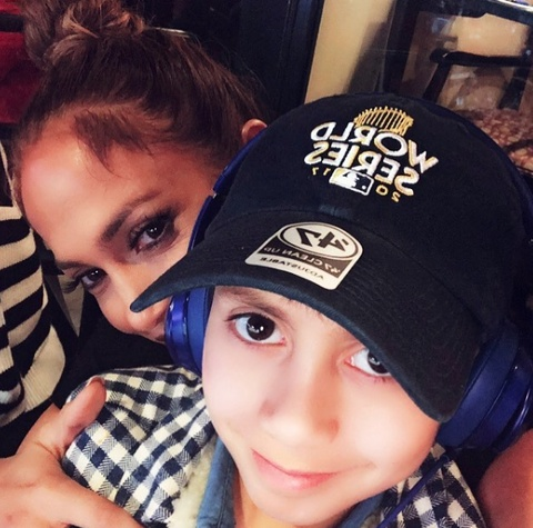 Jennifer Lopez at World Series with son, Max