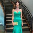 Model in Sherri Hill gown and Carlos Falchi clutch at Elizabeth Anthony