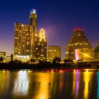 Austin skyline night downtown