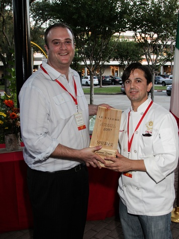 3079 Zonin's Peter Adelman, left, and Arcodoro's Luigi Shimaj at the Risotto Festival November 2013