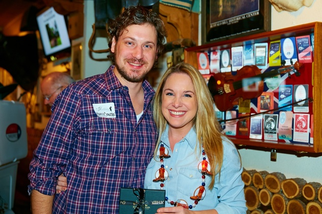 6936 Brant Croucher and Lainey Balagia at the Cattle Baron Gentlemen's Committee party February 2015