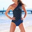macy's DKNY Swimsuit, One-Shoulder Asymmetrical Striped One-Piece