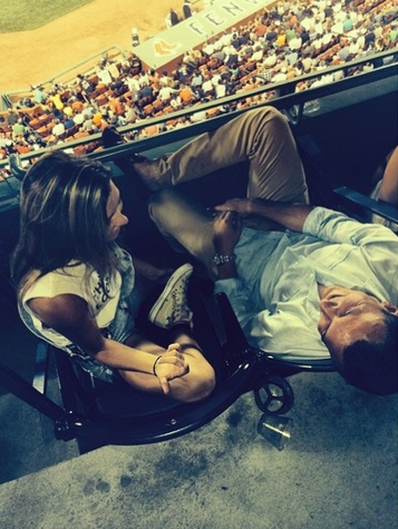 Colleen Crowley and Johnny Manziel in Boston at baseball game July 2014
