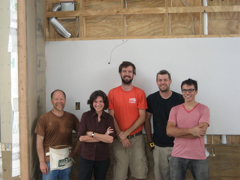 7, InHouse-OutHouse project, October 2012, team members, Danny Samuels, Nonya Grenader (the Rice Building Workshop professors who have acted as our advisors along the way), Jason Fleming, Andrew Daley, Peter Muessig