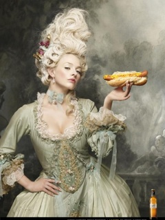 model dressed up as Marie Antoinette with a hot dog Austin Polo Club