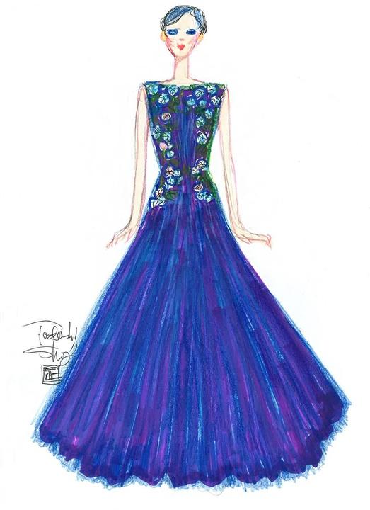 Tadashi Shoji inspiration sketch New York Fashion Week spring 2016