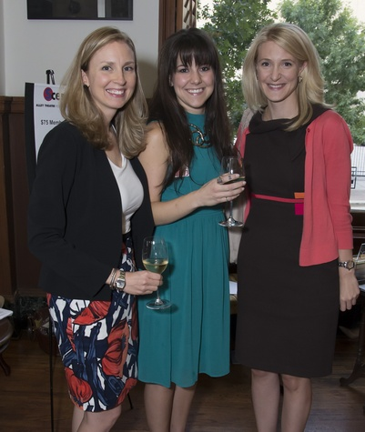 Mary O'Black, Haley Polak, Melissa Buce, Alley Theatre young professionals party, Sept. 2014