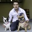 Taylor Garrett and his French bulldogs