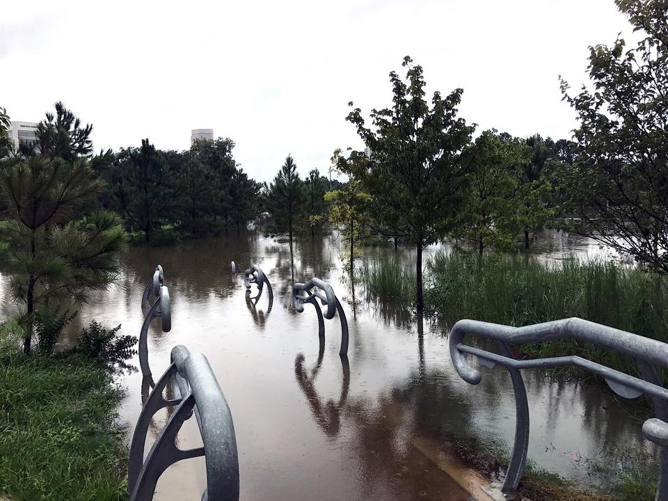 Houston, Hurricane Harvey, flood photos, Buffalo Bayou Park