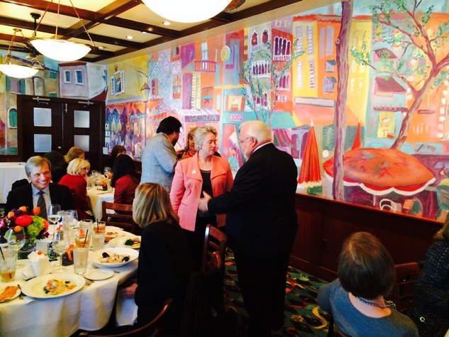 Annise Parker and Michael Kubosh at luncheon for Chronicle editor Nancy Barnes, Nov. 2013