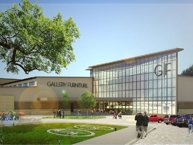 Gallery Furniture flagship store in Richardson rendering June 2014