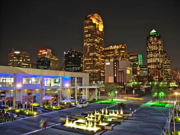 One Arts Plaza at night