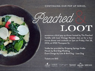 invite for Peached Tortilla pop-up dinner at Vintage Loot