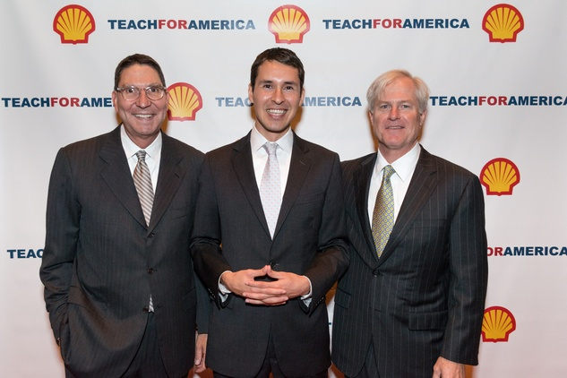 4 Scott McClelland, from left, Luis Elizondo-Thomson and Doug Foshee at the Teach for America event November 2014.
