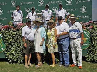 Mike Linn, from left, Carol Linn, Sheridan Williams, John Eddie Williams, Charles Ward at Santa Barbara polo matches July 2013