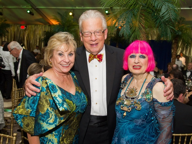 Diane and Harlan Stai, from left, with Zandra Rhodes at the Houston Grand Opera Opening Night celebration October 2013