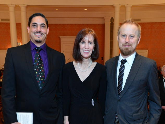 David Tomas Martinez, from left, Elizabeth Black and David Stuart MacLean at the Inprint Poets & Writers Ball February 2014