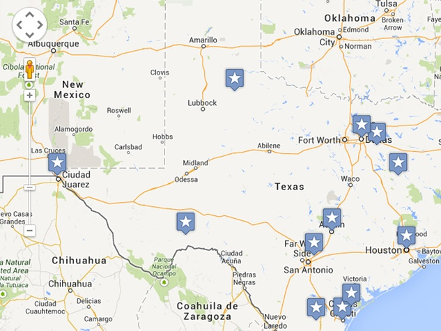 Texas' most endangered places 2013 map