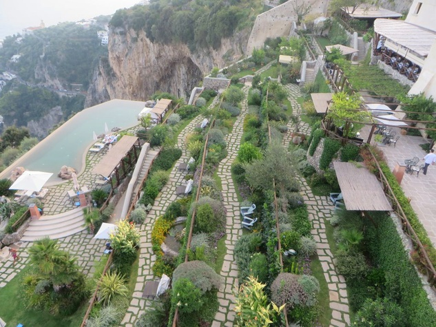 6 Jane Howze Italy trip Amalfi Coast hotel September 2014 view of the the four terraces leading down to infinity pool at monastero santa rosa on amalfi coast