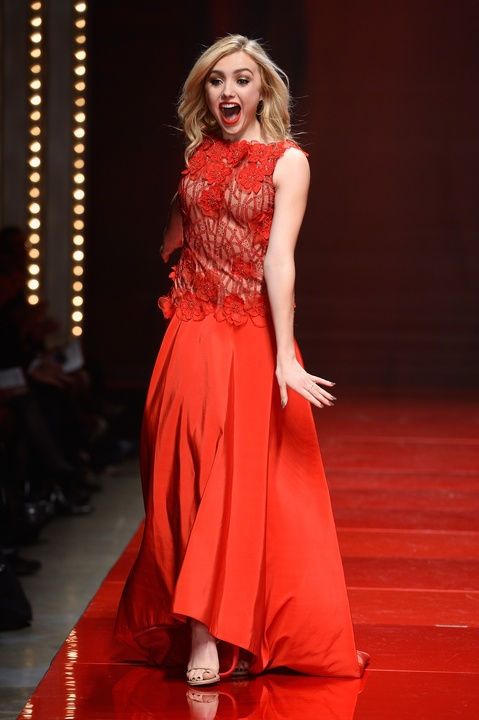 Peyton List walks the runway at the American Heart Association's Go Red For Women Red Dress Collection 2017