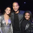 Aly Raisman, Simone Biles, and John Legend at Taylor Swift Club Nomadic concert