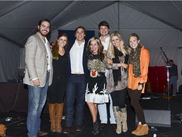DJ Lucy Wrubel with Gideon Powell, Michelle McAdam, Caleb Powell, Chris Landers, Whitney Landers, Abigail Powell