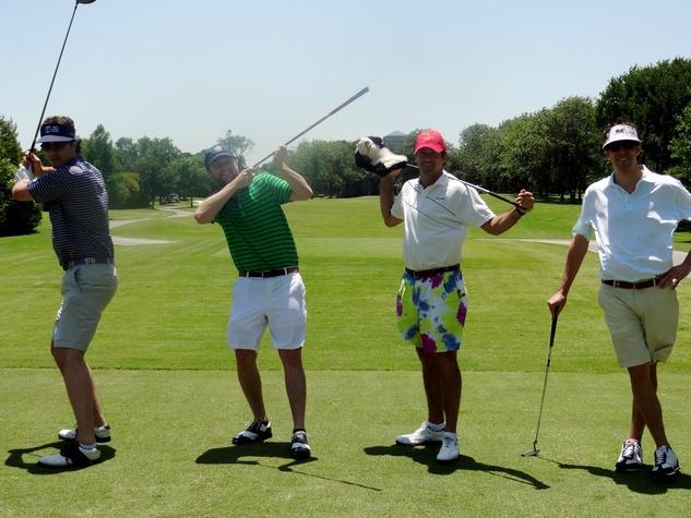Matt Comeaux, Charlie Parker, Sanders Campbell and Jimmy Gallivan, promise house golf
