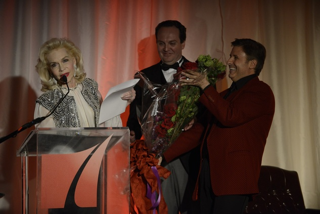 Lynn Wyatt, Ernie Manouse and Mr. Rodgers at Houston Public Media Masterpiece gala