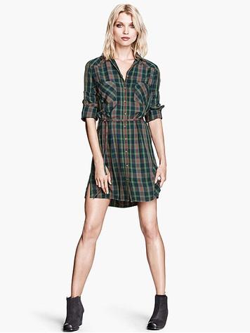 H&M green plaid shirtdress