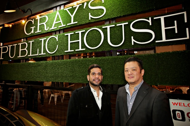 22 Ash Seth, left, and Dennis Wen at Gray's Public House Mardi Gras grand opening benefiting Urban Green February 2015