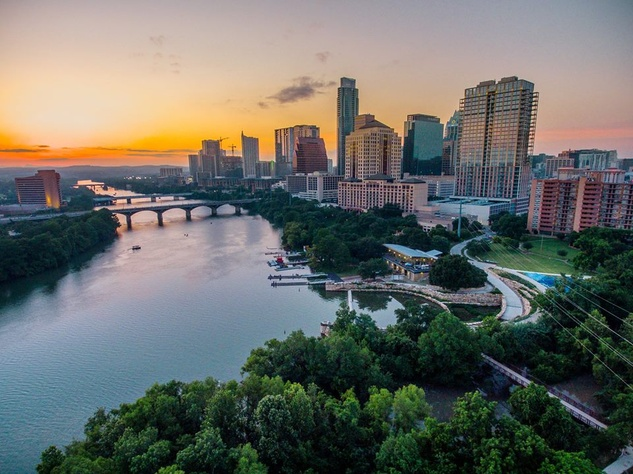Austin skyline including Lady Bird Lake