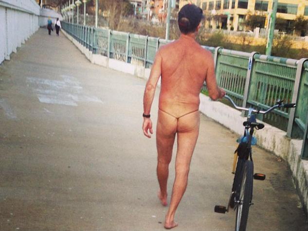 Thong Cyclist Naked Bike Rider