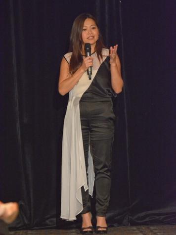 Chloe Dao Fashion Show May 2013 speaking at mic