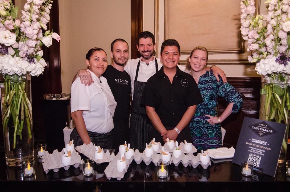 The congress team Monica Senclair, L. J. Miller, Executive Chef David Bull, Vidal Nunez and Ryann Collier
