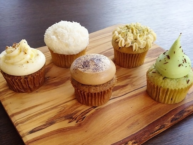 fall and winter cupcakes are HERE! From left to right- Hummingbird, Coconut, Espresso Truffle, Pistachio, & Mint Chocolate Chip at Tout Suite October 2014